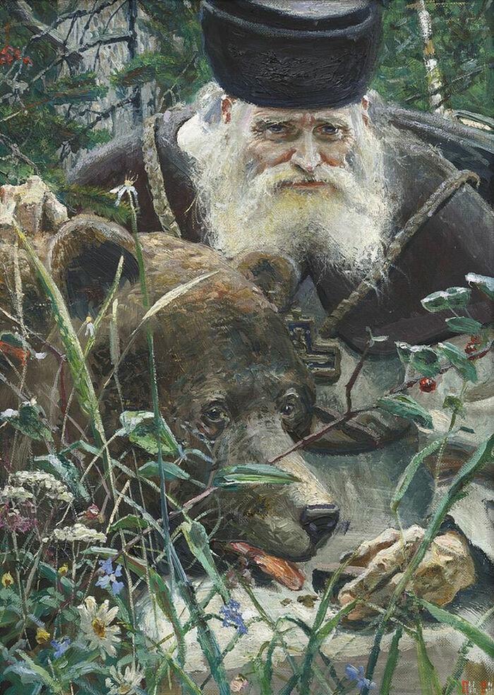 Павел Рыженко. «Преподобный Серафим». Центральная часть триптиха (2006)