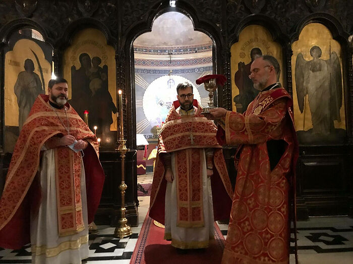 Concelebrating at St Alexander Nevsky Cathedral in Paris. Photo: twitter.com
