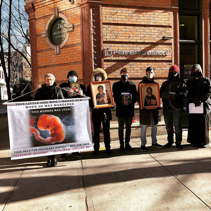 Orthodox Christians for Life holds a prayer service at a NY Planned Parenthood. Photo: Orthodox Christians for Life