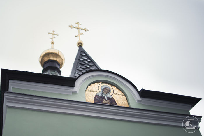 Mosaic of St. Xenia on her chapel in St. Petersburg. The St. Petersburg Theological Academy