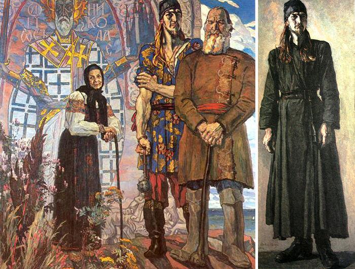 Картина «Старинный сказ» и эскиз «Молодой монах», на котором изображен погибший в заключении именно в 1943-м году бывший клирик Высоко-Петровского монастыря иеромонах Феодор (Богоявленский)