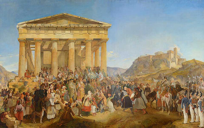 Nikolaos Ferekidis (1862–1929) and monogram G.W., The Entry of King Otho of Greece in Athens, copy of the work by Peter von Hess (1839), 1901, οil on canvas, 200x340 cm. National Bank of Greece. Photo: GreeceIs.com