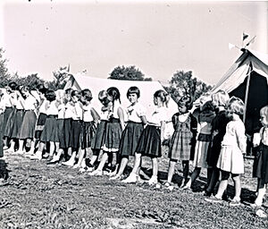 The morning flag-raising ceremony at the Tolstoy Foundation camp. 1955. Valley Cottage, NY
