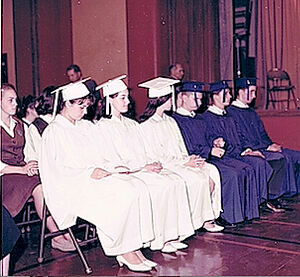 The graduation ceremony at St. Sergius High School, NYC, 1965. Nadezhda is on the far left, Nikolai is on the far right.