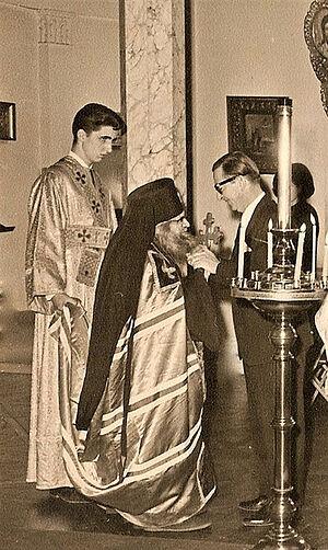 Subdeacon Nikolai Mokhov with Archbishop John of San Francisco in the Synod. The mid-1960s. Far right: Grand Duke Vladimir Kirillovich Romanov.