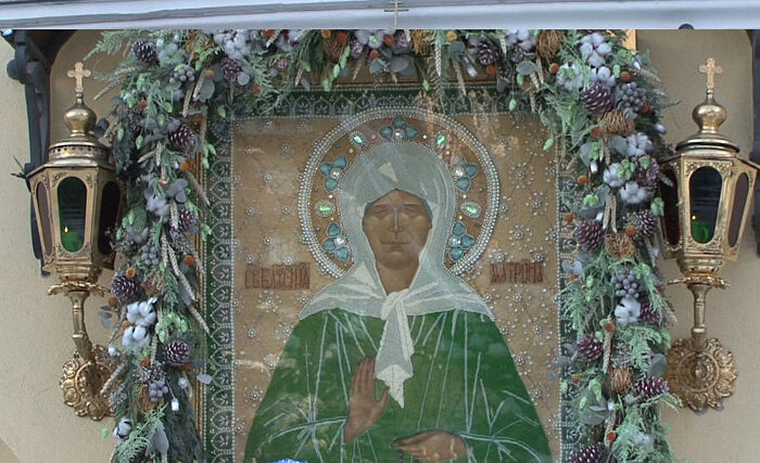 The famous icon of Blessed Matrona at the convent