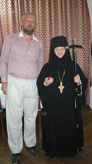 Abbess Moisseia with the author, V. Nikolaev, during the Paschal meal of 2016