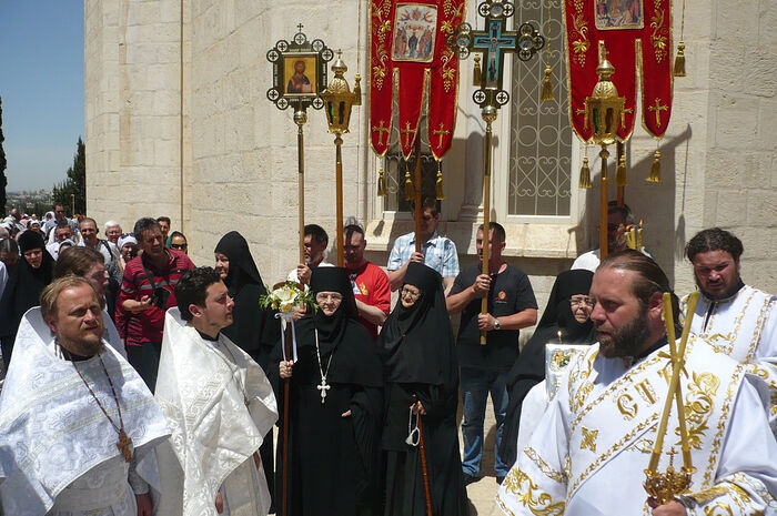 The Ascension Day of 2017. Cross procession. Mother Moisseiawith her staff and Mother Christina (both reposed in 2021) are in the center.