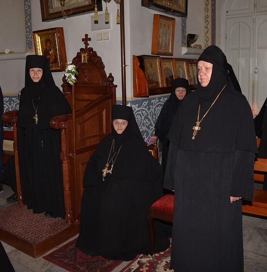 Abbess Barbara of the Ascension Convent, retired Abbess Moisseiaand Abbess Elizabeth of St. Mary Magdalene Convent in the Garden of Gethsemane. The Mount of Olives.
