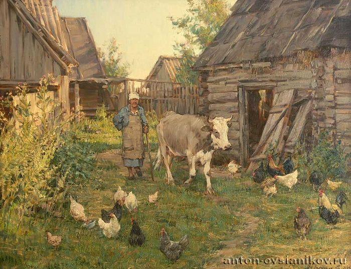 Το απόγευμα στο χωριό. Έτος 2006. Πανί, ελαιογραφία. 60х80. Ζωγράφος: Αντόν Οβσιάνικοβ.