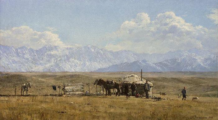 Ορόπεδο Ουσκονίρ. Καζαχστάν. Έτος 2008. Πανί, ελαιογραφία. 45х80. Ζωγράφος: Αντόν Οβσιάνικοβ