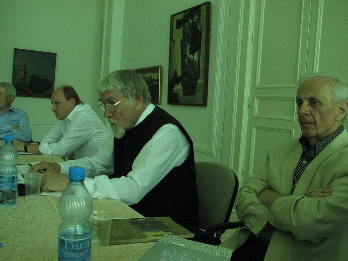 В. Толстой, В. Курбатов, Г. Красников. Круглый стол в Пушкинских горах