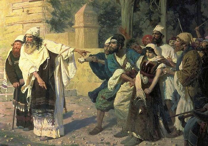 Фрагмент картины Василия Поленова «Христос и грешница», 1887