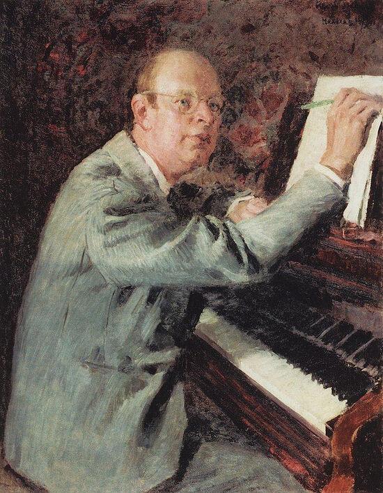И. Грабарь. Портрет композитора С.С. Прокофьева за работой над оперой «Война и мир». 1941 г.