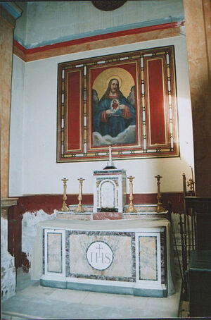 A side-chapel altar in the RC Church of Sts. Mary and Everilda in Everingham, East Riding of Yorkshire
