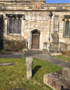 Cross shaft in the churchyard of St. Alkelda_s Church in Giggleswick, N. Yorkshire (kindly provided by Kathleen Kinder)