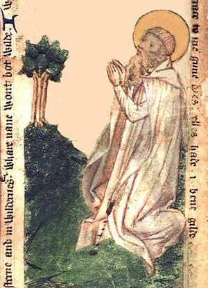 Godric of Finchale as depicted in an ancient manuscript, kept at the British Library (photo from Wikipedia)