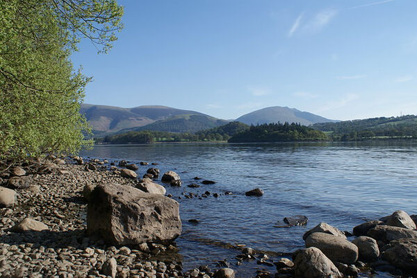 Site of St. Herbert_s hermitage on St. Herbert_s Island, Derwentwater, Cumbria (photo by Antony McCann, Geograph.org.uk)
