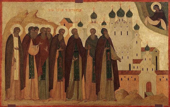 Οι Όσιοι Θαυματουργοί πασών των Ρωσιών. Εικόνα από τον ναό του Προφήτη Ηλία.