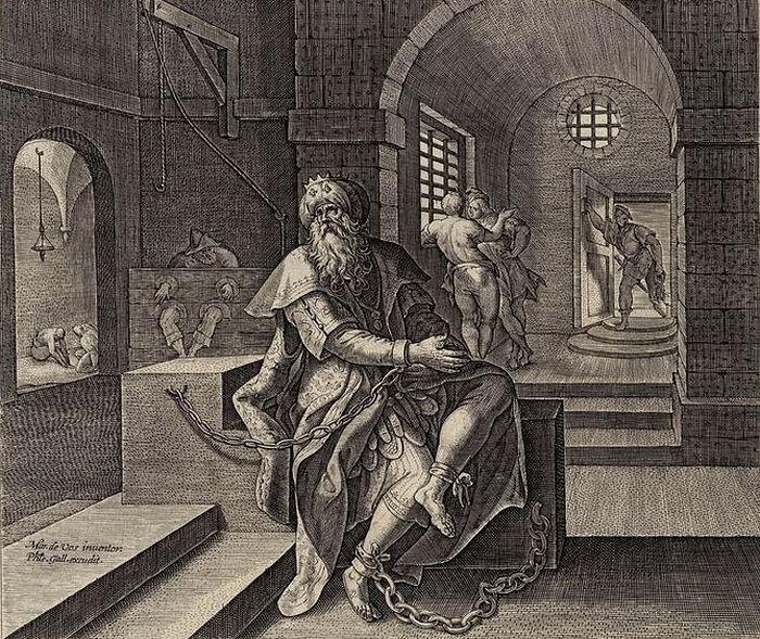 Maarten de Vos, Philips Galle. King Manasseh in prison