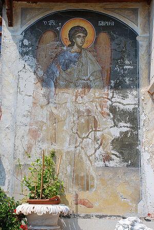 Τοιχογραφία που απεικονίζει τον Αρχάγγελο Γαβριήλ στην είσοδο της Μονής Δοχειαρίου (το μοναστήρι είναι αφιερωμένο στους Αρχαγγέλους Μιχαήλ και Γαβριήλ). Άγιο Όρος. Φωτογραφία: A. Ποσπέλοφ / Pravoslavie.Ru
