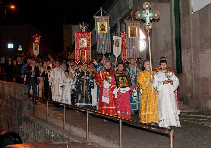 Приход Новомучеников и исповедников Церкви Русской в г. Порту (Португалия) на Пасхальном крестном ходе
