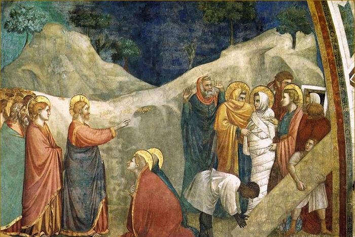 The Raising of Lazarus. Giotto di Bondone. Frescoes of the Lower Church of San Francesco in Assisi. C. 1310. Photo: art-giotto.ru