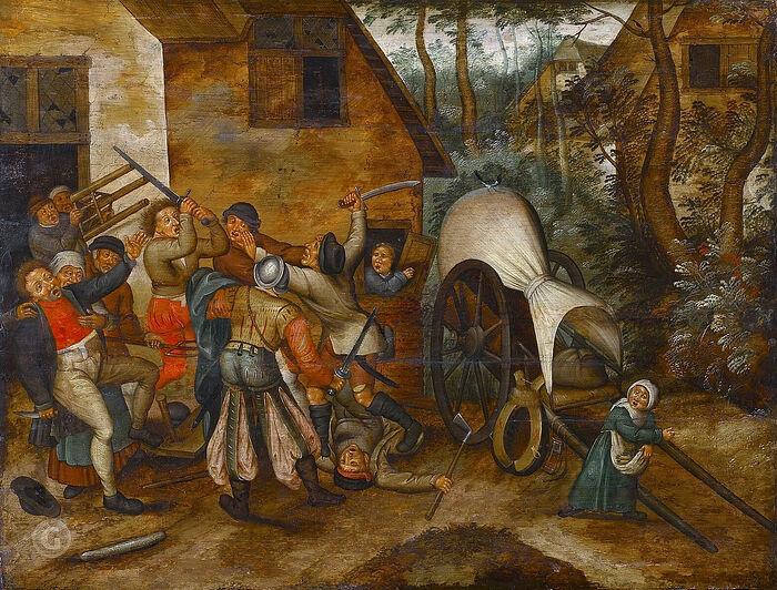 Драка между крестьянами и солдатами. Художник: Питер Брейгель Младший (1564-1638)