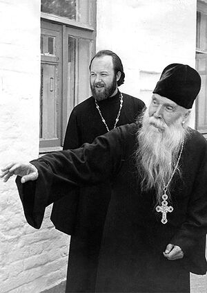 Fr. Sergey Orlov and Fr. Valerian Krechetov in Akulovo, 1974.