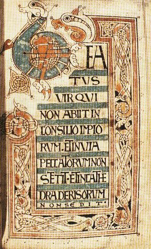 «Псалтирь из Лланбадарна» (ок. 1080), начало пс. 1 «Блажен муж...» (Дублин). Источник - Википедия