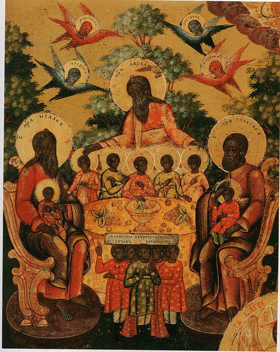 Photo: Feasting with the Three Patriarchs in Paradise, Nevyanskaya, c. 1830s. Photo: iconreader.files.wordpress.com