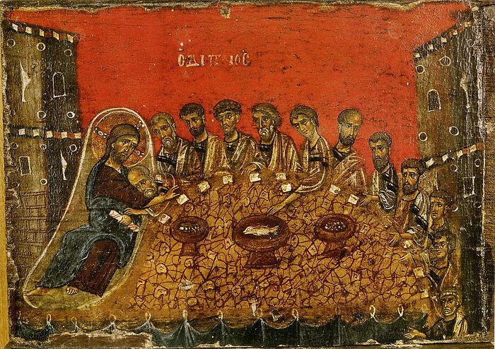 Тайная вечеря. Византийская икона XII в. Афон. Ватопедский монастырь