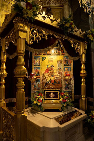 Ковчег с частицей мощей вмч. Георгия Победоносца в храме на Поклонной горе