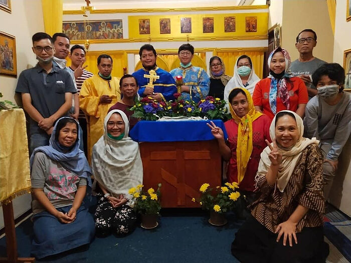 Parishioners of the Church of holy Equal-to-the-Apostles Cosmas of Aetolia in Malang