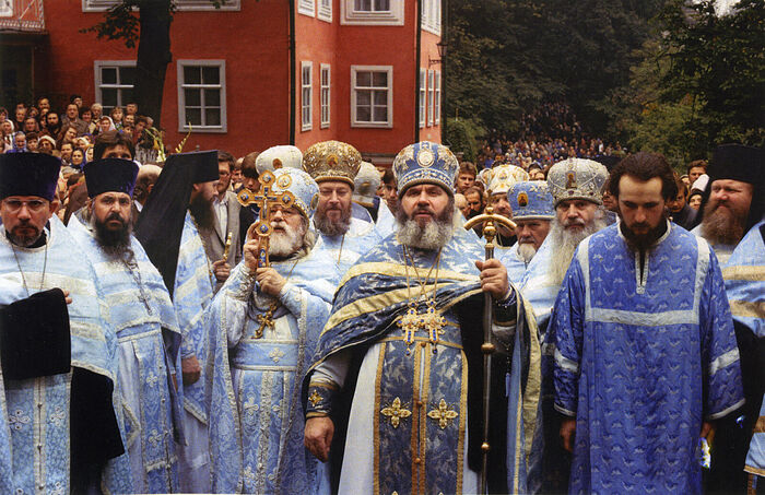 Архимандрит Гавриил (Стеблюченко), архимандрит Иоанн (Крестьянкин) на празднике Успения Божией Матери, Псково-Печерский монастырь