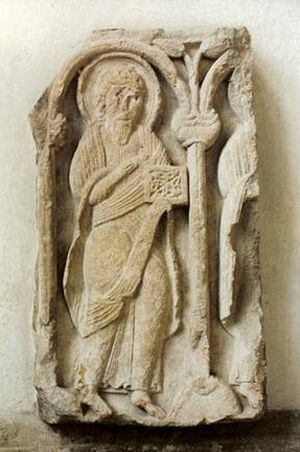 St. Mark's carving, probably fragment of St. Cyneburgh's former shrine, in Castor Church, Cambs (kindly provided by Dr. Avril Lumley-Prior)