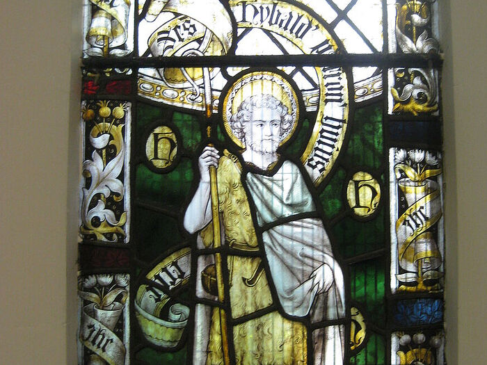 Depiction of St. Hibald on the east window of the Scawby church, Lincs (provided by Revd. David Eames)