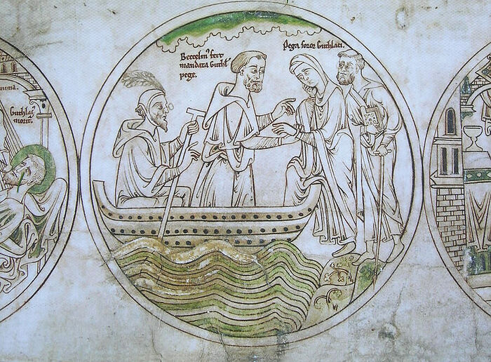 Guthlac Roll 15 (Pega is boarding a boat heading for Crowland; facsimile; provided by Dr. Avril Lumley-Prior)