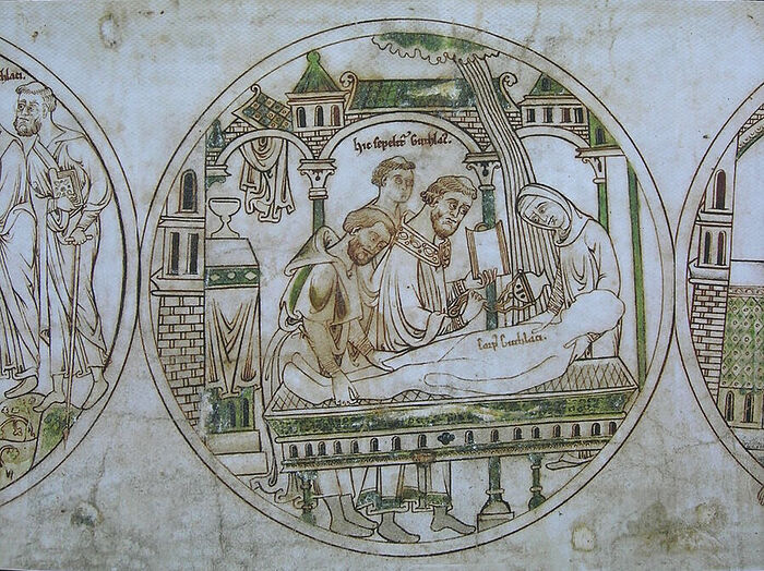 Guthlac Roll 16 (Pega is re-intering Guthlac's relics in a sarcophagus; facsimile; provided by Dr. Avril Lumley-Prior)