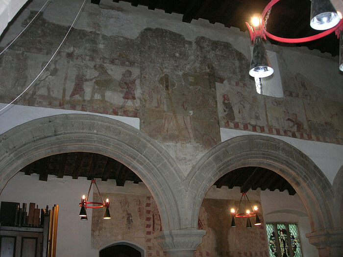 Medieval wall paintings inside St. Pega's Church in Peakirk, Cambs (kindly provided by Dr. Avril Lumley-Prior)