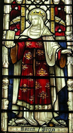 St. Pega depicted on stained glass at St. John the Baptist's Church in Peterborough, Cambs (kindly provided by Dr. Avril Lumley-Prior)