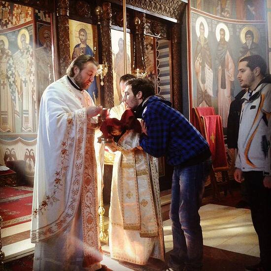 Young parishioners recieving Communion
