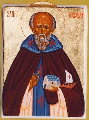 Современная православная икона прп. Брендана Мореплавателя