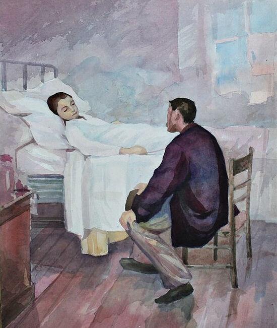 День посещений в больнице. Художник: Генри Жюль Жан Жоффруа