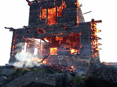 Wooden church from famous movie The Island (Ostrov) burns down