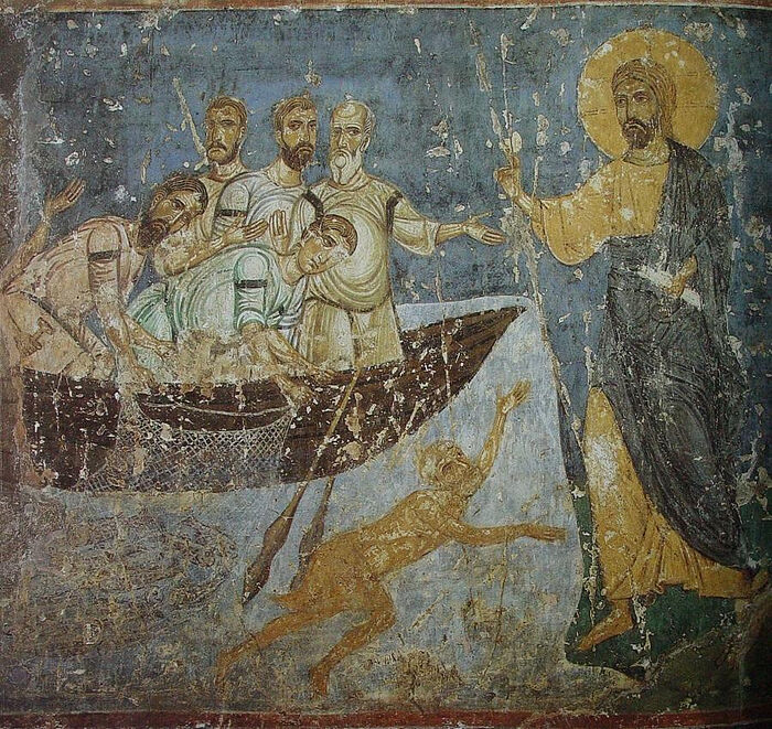 Christ's appearance to the apostle on the Sea of Tiberius. Fresco, Cathedral of the Transfiguation, Mirozh Monastery, Pskov. 12th c.