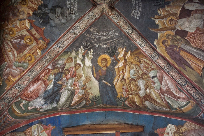 Christ's appearance to the apostles on mountain of Galilee. Decani Monastery, Serbia. 14th c.