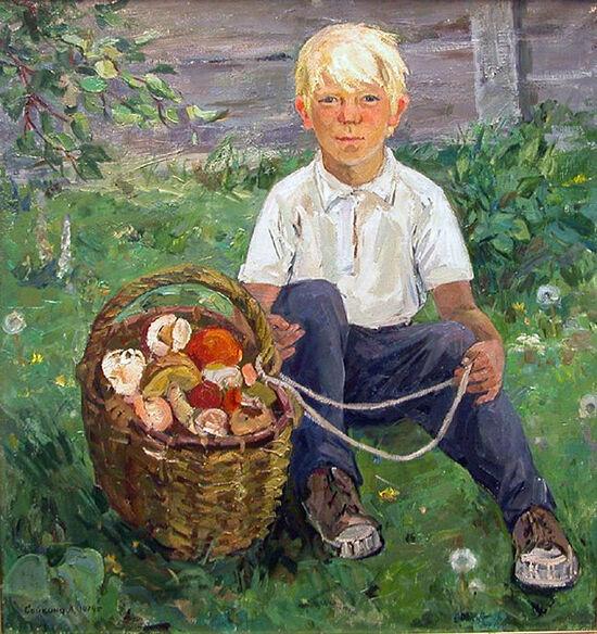 Мальчик с корзиной грибов. Художник: Александра Сайкина