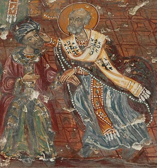 St. Nicholas gives Arius a slap in the face at the First Ecumenical Council