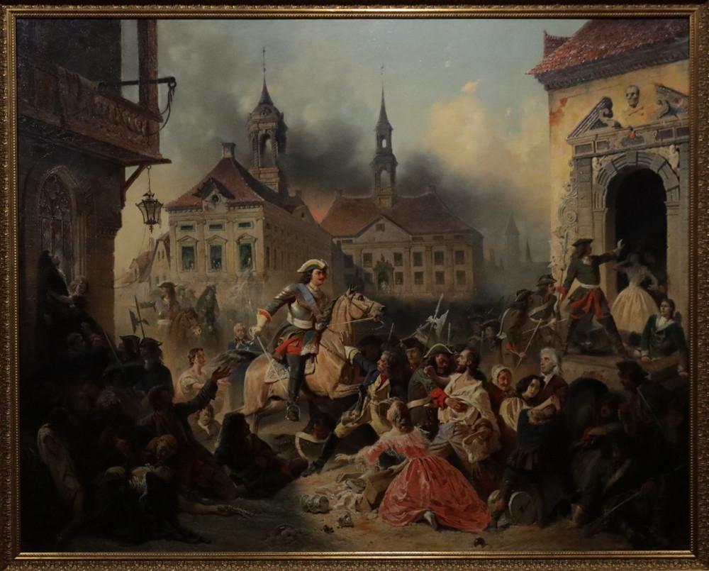 Зауервейд Н.А. Петр I усмиряет ожесточенных солдат своих при взятии Нарвы в 1704 году. 1859